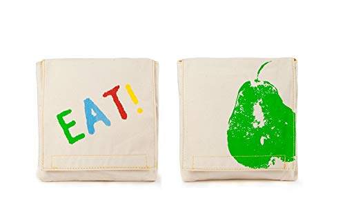 Fluf Reusable Snack Bags | Sandwich Bags for Kids | Eco Friendly, Certified Organic Cotton, & Machine Washable | Set of 2 | (Good Eats)