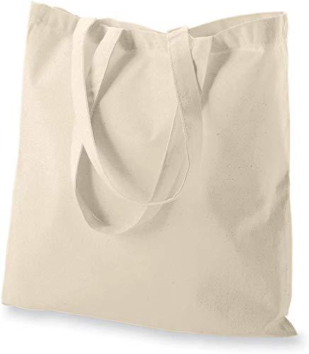 "ECOFACTORYDIRECT 12 Pack NATURAL Color Cotton Bag - 15"" X 16"" reusable grocery bags 5.5 oz cotton canvas tote eco friendly super strong reusable washable (NATURAL, 12)"