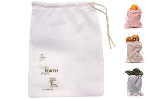 Premium Reusable Produce Bags. Made in The USA. Made in Vermont. Mesh Vegetable Bags. Set of 4 Ecofriendly Washable with Tare Weight. Unique Drawstring Design. Lightweight. Double Stitched Seams.