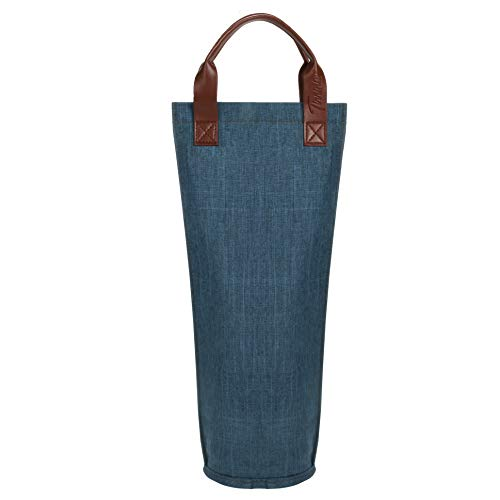 Tirrinia Single Wine Tote Bag, Insulated Padded Thermal Wine Bottle Carrying Cooler Carrier for Travel, Picnic, Great Gift for Wine Lover, Blue