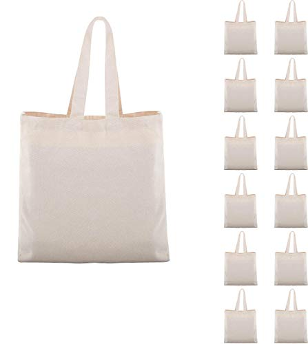 EDEN Reusable Blank Tote Canvas Grocery Shopping Bags Bulk 16 X 16 X 4.2Inch - 100% Heavy Duty 12oz Organic Cotton Washable