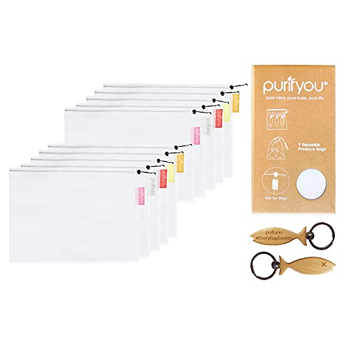 purifyou Premium Reusable Produce Bags - Set of 10 Small (12x8') | Reusable Grocery Bags | Reusable Gift Bag | Sustainable Gifts | for Food, Fruits, Vegetables, Groceries, Storage