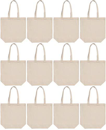 "Large Cotton Tote Bags 16x16x6"" - 100% Cotton Canvas 12 Pack"