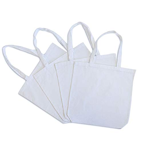 Canvas Tote Bags, Cotton Grocery Bags, Reusable Shopping Bags for Beach, Pool, Market, Gifts, DIY, Organic Washable Cotton Eco Friendly Fabric, Comfortable Shoulder Handles 4 Pcs – 15.7x3.3x15.7 (White)