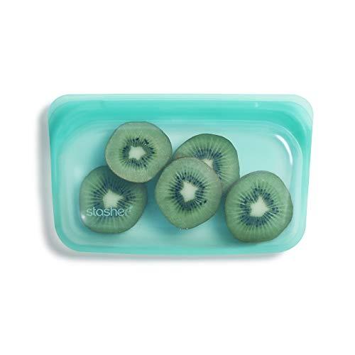 Stasher Platinum Silicone Food Grade Reusable Storage Bag, Aqua (Snack) | Reduce Single-Use Plastic | Cook, Store, Sous Vide, or Freeze | Leakproof, Dishwasher-Safe, Eco-friendly, Non-Toxic | 9.9 Oz