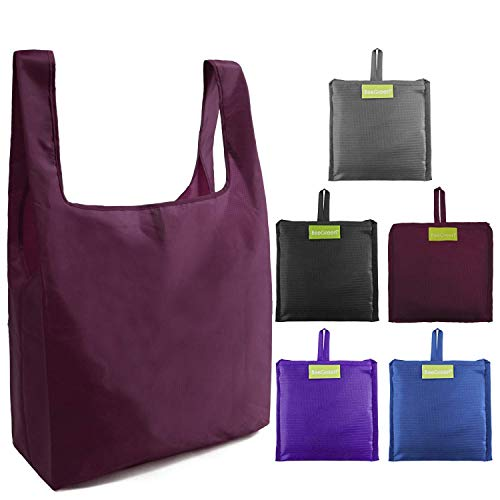 Ripstop Reusable Grocery Bags Set 5, Washable Foldable Shopping Bags,Eco Friendly Reusable Shopping Tote, Light Weight(Grey,Black,Burgundy,Purple,Royal Blue) …