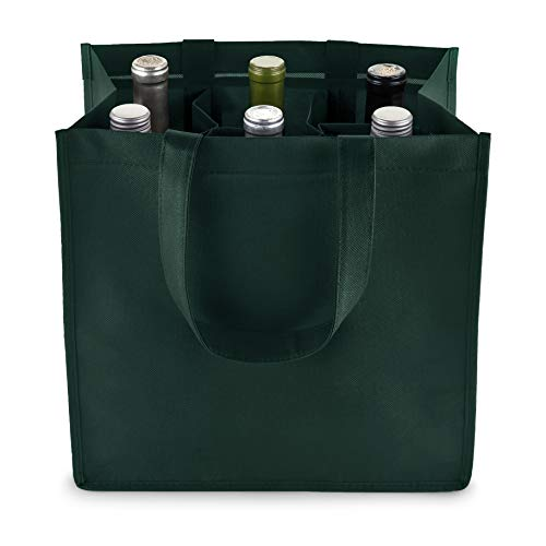 True 6 Bottle Wine Bag with Divider, Non-Woven 100 GSM, Customizable Reusable Wine Bottle Carrier, Green