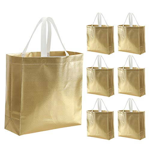 Tosnail 20 Pack Glossy Gold Reusable Grocery Bags Shopping Tote Bag with Handle Present Bag Gift Bag for Weddings, Birthdays, Party, Event