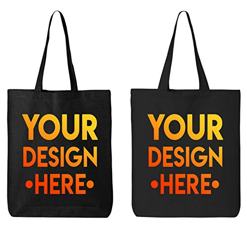 DESIGN YOUR OWN Canvas Tote Bag - Add Your Photo and Text - Personalized Tote Bag