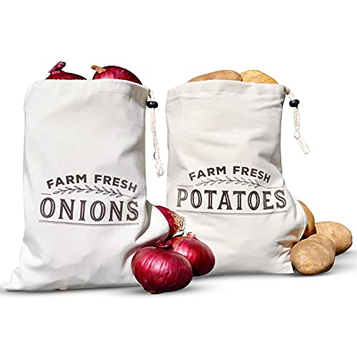 """Resilient Roots Potato Storage for Pantry I Potato and Onion Storage Bags with Side Zipper I Set of 2-16"""" x 12"""" - Cotton Farm Fresh Onion Bag with Blackout Liner"""