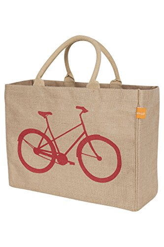 KAF Home Jute Market Tote Bag with Bicycle Print, Durable Handle, Reinforced Bottom and Interior Zipper Pocket, Generous capacity, 12.5' tall x 17' wide x 7' deep