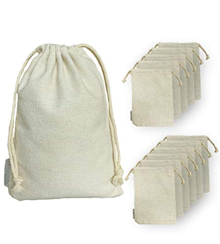 RakrisaSupplies 12 Pcs Cotton Drawstrings Bags 8x10 inch | Heavy Duty Reusable Canvas Cotton Muslin Bags | Perfect Organizing, Storage, Crafts and Favor Bags (12, 8 x 10)