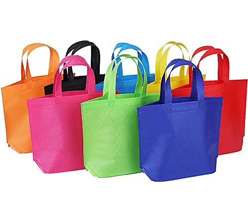 """Shindel 24 Pack 13"""" Tote Gift Bags One Side Blank Non-woven Bags Colored Treat Bags"""