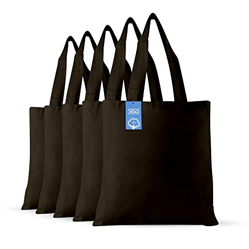 Cotton Cloth Fabric Craft Bags - Set of 5 - Reusable Grocery Bags
