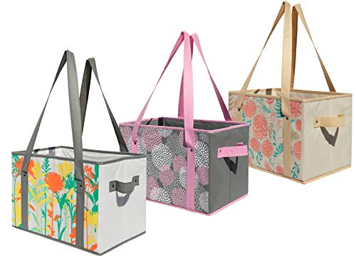 Earthwise Deluxe Collapsible Reusable Shopping Box Grocery Bag Set with Reinforced Bottom Storage Boxes Bins Cubes (Set of 3) (Multi Flowers)