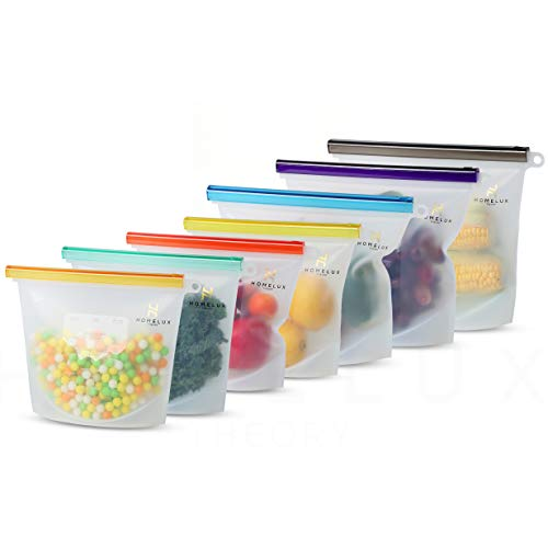 Homelux Theory Reusable Silicone Food Storage Bags | LEAKPROOF, AIRTIGHT | 100% Food Grade Silicone | Keep fruit, snacks, veggie, sandwich fresh | travel picnic lunch (3 Large + 4 Medium)