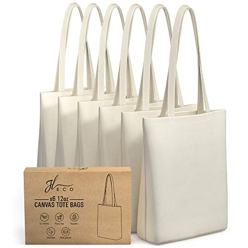JL ECO Blank Heavy Duty Canvas Tote Bags with Inner Pocket and 28' Long Handles