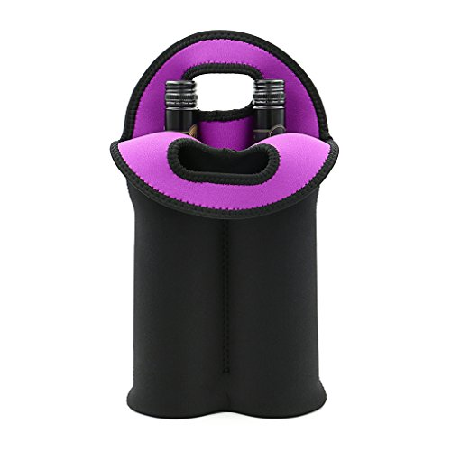 Hipiwe Wine Carrier Tote Bag Two Bottle Insulated Neoprene Wine/Water Bottle Holder for Travel with Secure Carry Handle(1PCS Black)