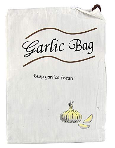 "HOME-X Garlic Saver Bag, Reusable Produce Storage Sack for Vegetables–Natural-14 ¾"" L x 10 ½"" W"