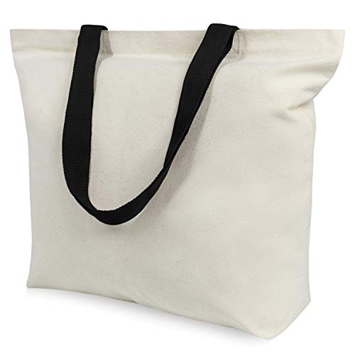 TOPDesign 6-Pack Canvas Tote Bags with Magnetic Snap, Reusable Grocery Shopping Bags, DIY Your Creative Designs