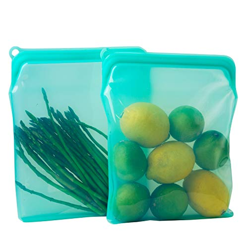 BluePerlOne 2-XL 100% Silicone ZipLock Storage Bags (Food Grade, Reusable, BPA Free, Leak Proof, Dish Washer Safe) for Microwave, Oven, Fridge, Freezer & Sous Vide. ( Two-1/2 Gal / 8 cups Bags )
