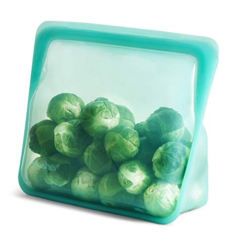 Stasher Platinum Silicone Food Grade Reusable Storage Bag,Aqua (Stand-Up Mid) | Reduce Single-Use Plastic | Cook, Store, Sous Vide, or Freeze | Leakproof, Dishwasher-Safe, Eco-friendly |56 Oz