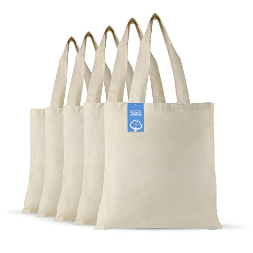 Cotton Cloth Fabric Craft Bags - Set of 5 - Reusable Grocery Bags, Natural