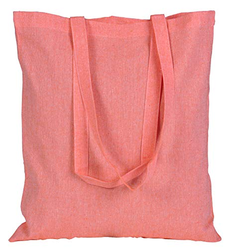 ECOFACTORYDIRECT 12 Pack CORAL Color Recycled Cotton Bag 15 X 16 inch with 27 inch handle reusable grocery bags 5.5 oz canvas eco friendly super strong washable (CORAL, 12)
