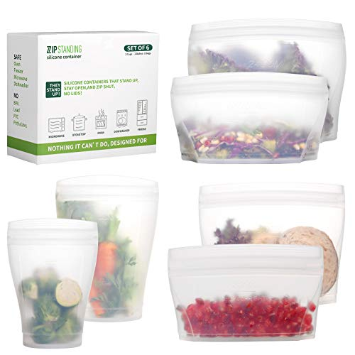 ZiP Standing Reusable food container, silicone bag, 6 Pcs Zip Containers Can be used for fruit and vegetable snacks, etc. Microwave Dishwasher and Freezer Usable (white)…
