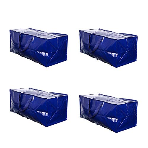 VENO Heavy Duty Extra Large Moving Bags W/ Backpack Straps Strong Handles & Zippers, Storage Totes For Space Saving, Fold Flat, Alternative to Moving Box, Made of Recycled Material (Blue - Set of 4)