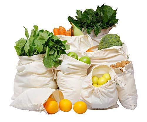 Cotton Produce Bags Reusable Produce Bags - Cotton Bread Bag - Bulk Food Reusable Bags - Bulk Produce Bags - Vegetable Cloth Bags - Cotton Muslin Produce Bag Set Set of 8 (2 XL, 2L, 2M, 2S)