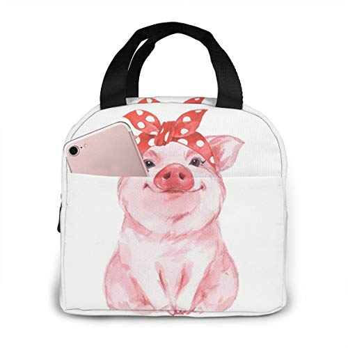 PrelerDIY Cute Pink Pig Lunch Box Insulated Meal Bag Lunch Bag Reusable Snack Bag Food Container For Boys Girls Men Women School Work Travel Picnic