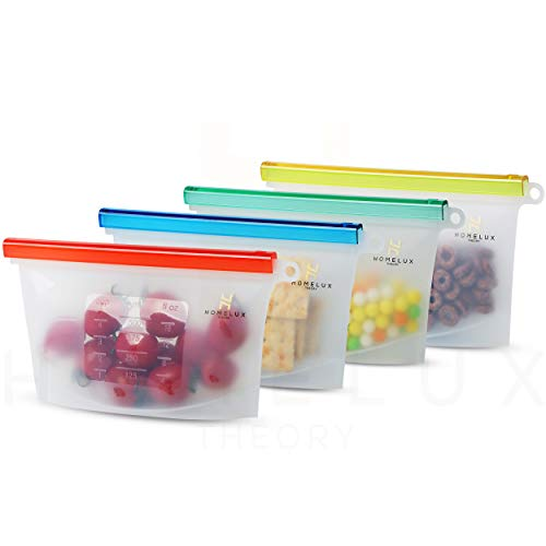 Homelux Theory Reusable Silicone Food Storage Bags | LEAKPROOF, AIRTIGHT | 100% Food Grade Silicone | Keep fruit, snacks, veggie, sandwich fresh | travel picnic lunch (4 Small)