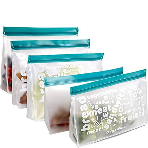 OrgaWise Reusable Food Freezer Storage Bags,PEVA Sandwich Bags Snack Bags,Leakproof Washable Ziplock Lunch Bags,Large Size