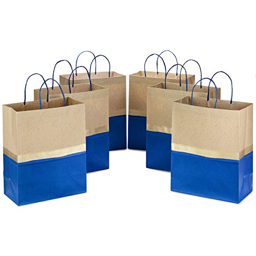 Hallmark 13' Large Paper Gift Bags (Pack of 6 - Blue & Kraft) for Hanukkah, Birthdays, Weddings, Graduations, Father's Day, Baby Showers, Bridal Showers