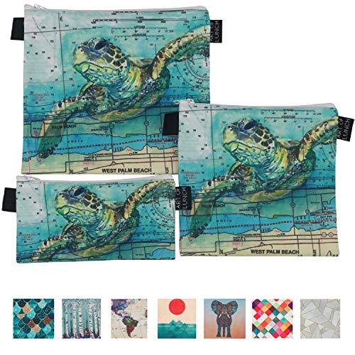 Art of Lunch by ARTOVIDA Designer Lunch Baggies for Men & Women, Boys & Girls, Fashionable, Reusable, Snack & Sandwich Bags w Zipper - Design by Carly Mejeur (USA) - Loggerhead Sea Turtle