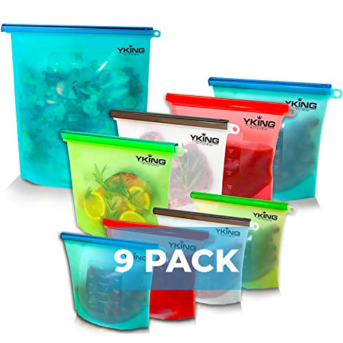 9 Pack Reusable Silicone Food Storage Bag 1 x Gallon size + 4 (50 OZ) + 4(30 OZ)- Freezer Bags - Sous Vide - Microwave - Dishwasher Safe - Leak Proof - Ziplock Large Freezer Bags
