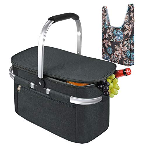 Tirrinia Large Insulated Picnic Basket, 34L Water Resistant & Leakproof Collapsible Portable Cooler Basket Set with Aluminium Handle for Travel, with a Free Foldable Grocery Bag, Black