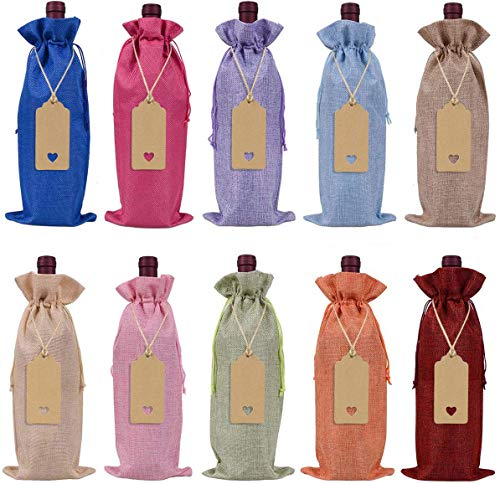 Keniot Burlap Wine Bags Wine Gift Bags with Drawstrings, Single Reusable Wine Bottle Covers with Ropes and Tags(10 Pcs)
