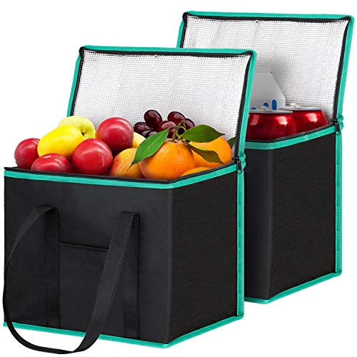 WISELIFE Insulated Reusable Shopping Bags Grocery Bags [2 Pack] with Handles,Heavy Duty Produce Bags Food Delivery Bags Cooler Bags w/Zippered Top for Groceries,Food Transport,Travel,Picnic,Camping-GR