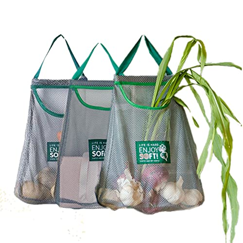 3 PACK Reusable Bag|Mesh Produce Bag|Hanging Storage|Reusable|Washable Cotton Mesh Grogery Bags Eco Friendly Over the Door Pantry Organizer(Green)