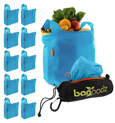 BagPodz Reusable Shopping Bags Inside a Compact Pod with Carry Clip RipStop Nylon Holds 50lbs Very Sturdy, 10 Pack in Blue