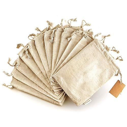 Organic Cotton Reusable Produce Bags - Small 5x7 - 12 Pcs Biodegradable Eco-Friendly Bulk Bin Bags for Food - Sachet Bags - Fruit Vegetable Storage - Drawstring Pouch - Produce Linen Bag by Leafico