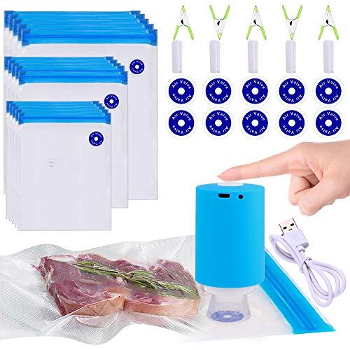 Sous Vide Bags, 42 PCS Electric Vacuum Sealer Food Vacuum Sealer & Reusable Vacuum Food Storage Bags for Anova, Joule Cookers -30 PCS Reusable Vacuum Sealer Bags,5 Clips & 5 Sealing Clips,Rechargeable Vacuum Sealer Set