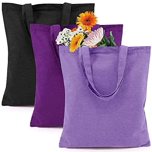 BeeGreen Personalized Plain Canvas Tote Bags Set of 3 with Handle Durable Reusable Cotton Grocery Totes Heavy Duty Machine Washable Cloth Shopping Baggies for Craft DIY
