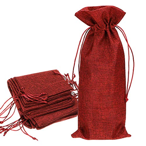 Hipiwe Red Wine Bags, Burlap Wine Bags With Drawstring Jute Red Wine Gift Bags Champagne Bottle Bag Covers for Wedding Party Favors Wine Tasting Party (Pack of 12)