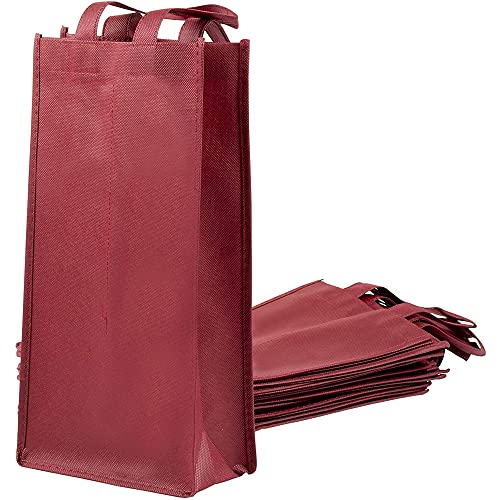 Juvale Wine Bag with Handles for Gifts, Dinner Parties, Burgundy Carrying Tote (10 Pack)