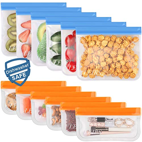 Dishwasher Safe Reusable Storage Bags, Extra Thick Reusable Food Bags, BPA Free Leakproof Reusable Freezer Bags (12 Pack - 6 Sandwich 6 Snack Bags)