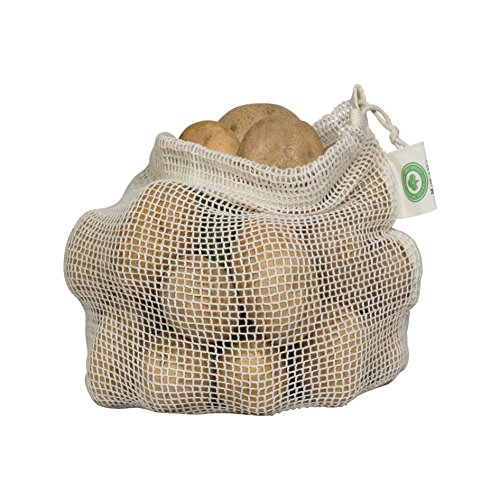 Reusable Mesh Produce Bags made from 100% Organic Cotton - Perfect Reusable Net Vegetable Bags - Eco-friendly, Bio-degradable & Washable Fruit, Vegetable & Produce Bags (3 Medium)