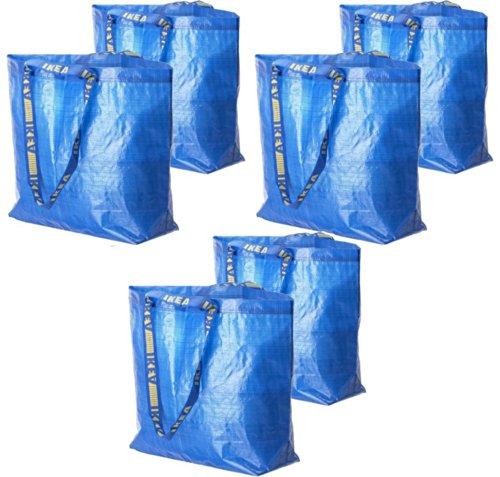 6 Ikea Frakta Shopping Bags 10 Gal Blue Tote Multi Purpose Durable Material